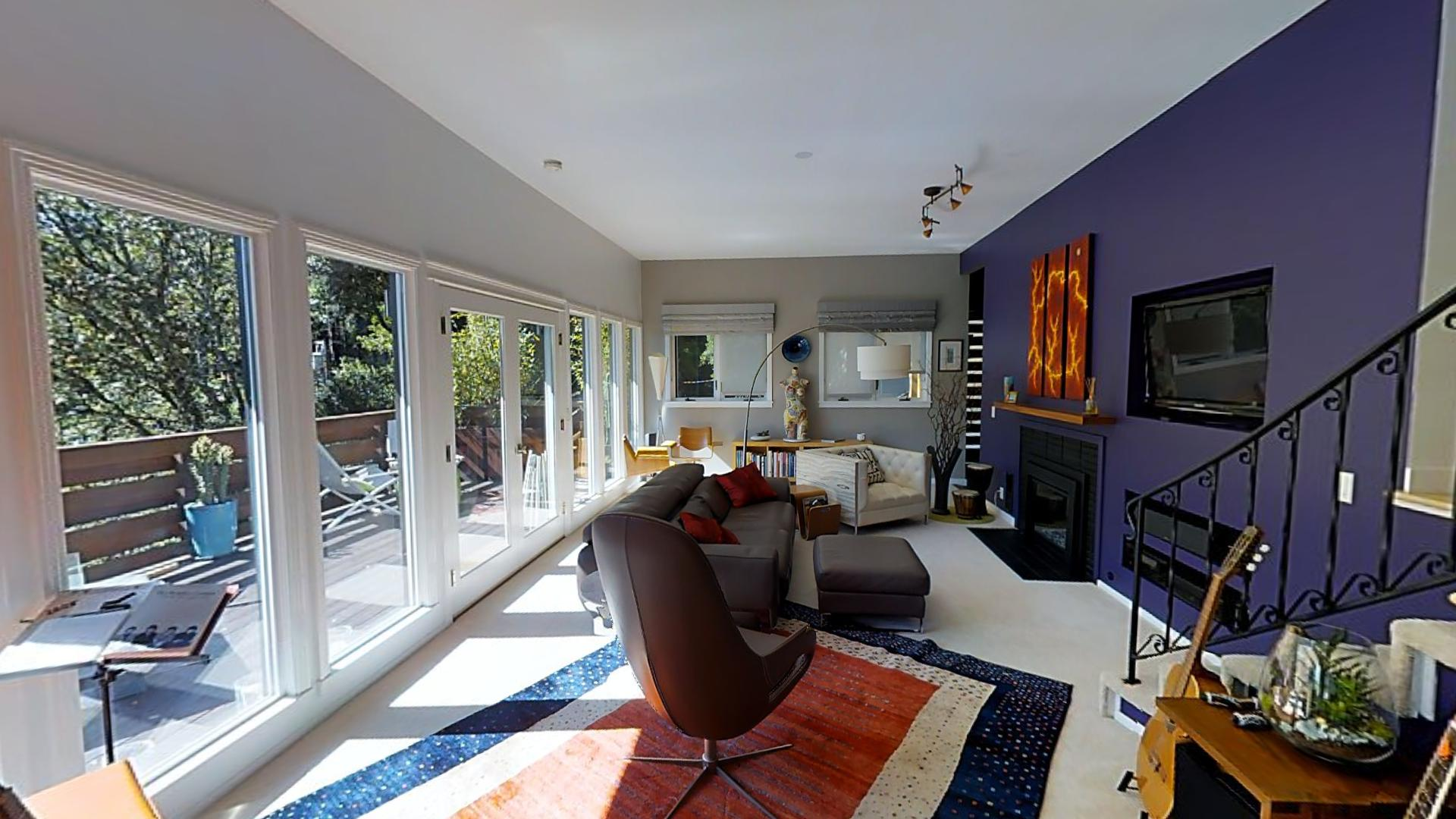 Sample Matterport 3D Showcase Image - Living Room with Purple Accent Wall