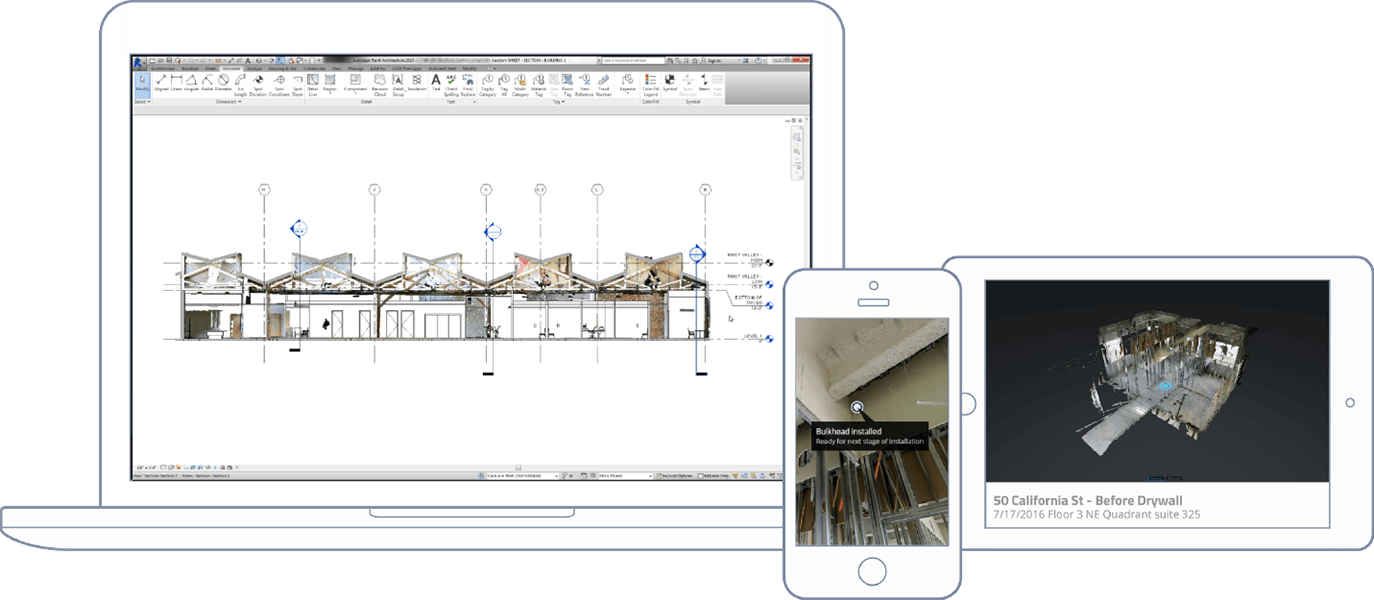 Construction documentation visible across desktop, mobile, and tablets