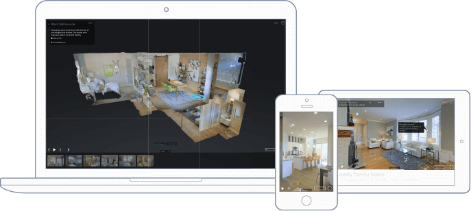 3D real estate tours on desktop, mobile, and tablet.