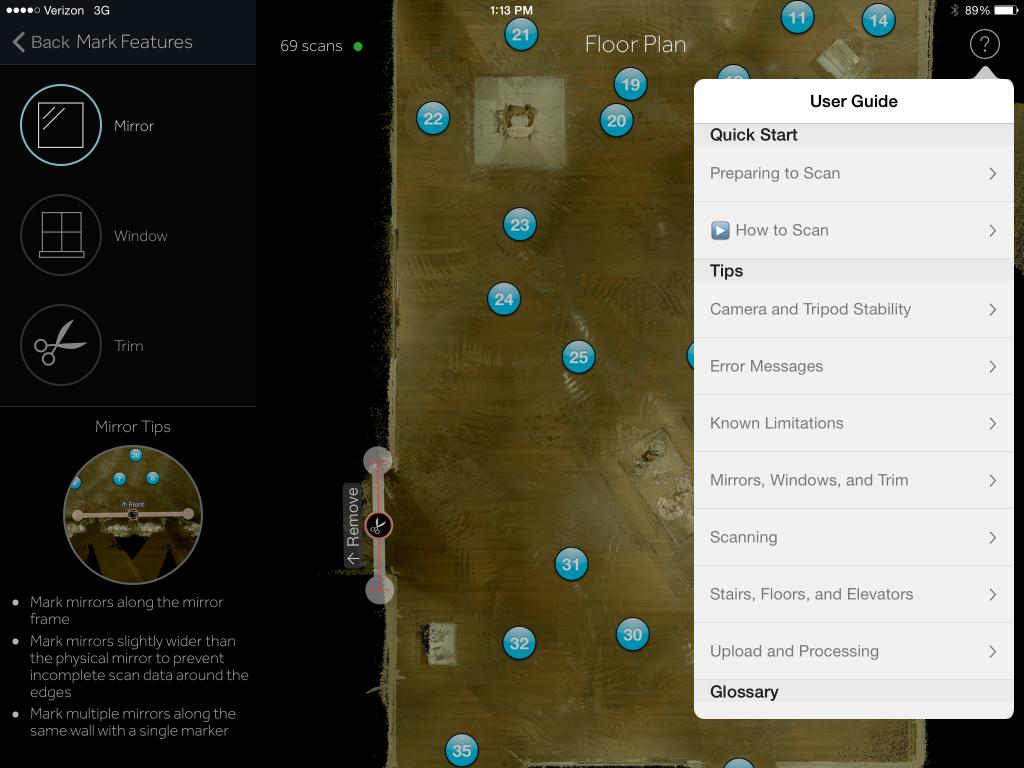 Matterport Capture App with Help Features