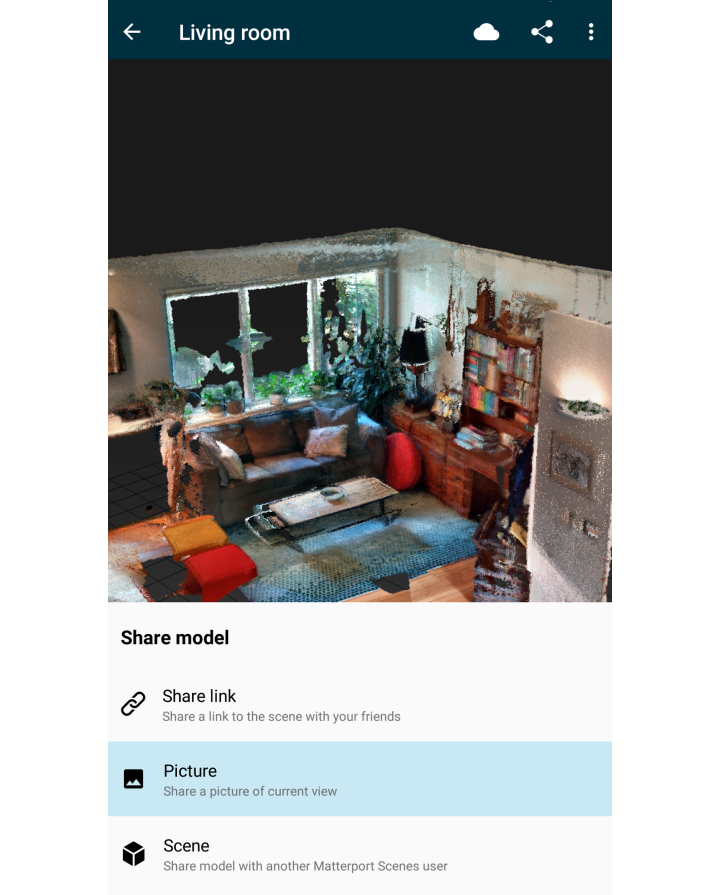 Upload to Scenes Cloud (scenes.matterport.com) to share your 3D models over  the web.