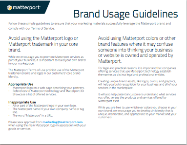 Matterport Brand Usage Guidelines