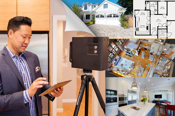 real estate photographer using Matterport 3D camera for property photos